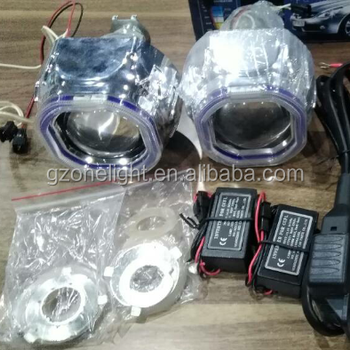 G1 2.5'' Car Headlight Bi-Xenon HID Projector Lens Kit with Double Angel Eyes with Bulb Bule