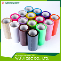 100% polyester glitter tulle fabric