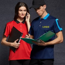 Different Color Collar Polo Shirt Uniform Polo Shirt with Pen Bag