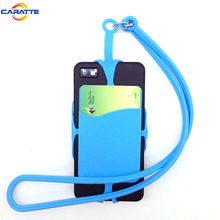 Guangdong elastic silicone rubber lanyard cell phone holder with card holder