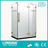 Luxury shallow tray safety tempered glass bathtub size shower enclosures for villa