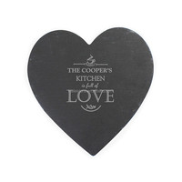 Natural slate heart shaped tableware for Valentine's Day