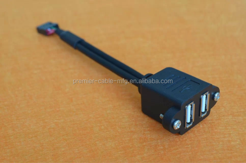 50cm Stackable Dual USB 2.0 A Type Female to Motherboard 9 Pin Header Cable with Screw Panel mount Holes