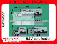 pvc 2gb 4gb customized PVC truck shape usb memory stick.