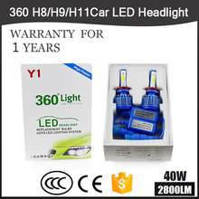 360 6000k COB Chips H4/9007 LED Auto Headlight Kits 2800LM 40W H7/H1/H3 Car Bulbs SUV H11 Fog Lamps 9012 9005 9006 S2 Series