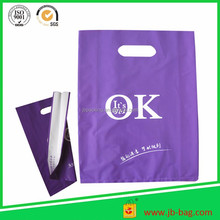 China manufacturer colorful printed LDPE plastic die cut bags/die cut handle plastic bags