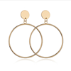 Trendy Gold Plated Copper Alloy Round Circle Dangle Earring Large Circle Drop Earring