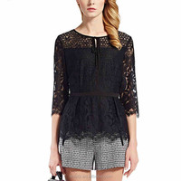Latest fashion lace splicing hollow out sexy shirt for girls online shopping india