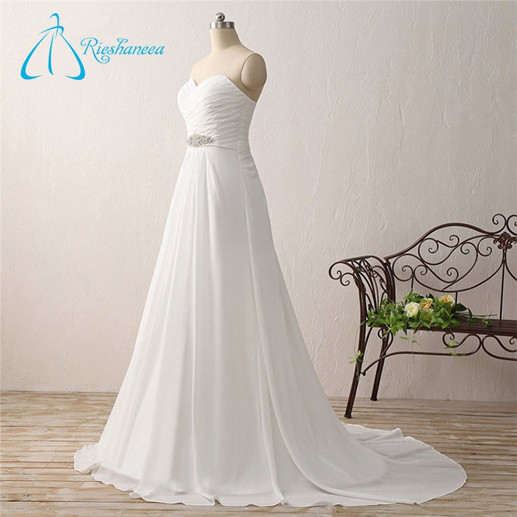 A-Line Chiffon Pleat Crystal Bride White Beach Wedding Dress