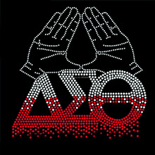 whosale Delta sigma theta rhinestone heat transfer design for t shirt