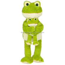 Sweet Mom And Baby Plush Frog Toy CE Certification Custom Cartoon Stuffed Animal Soft Toy Green Plush Frog
