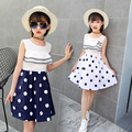 Latest Children girls dot printed design wear summer short sleeves princess dress OEM manufacture in China