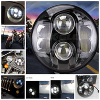 off road motorcycle headlight 48w led work light 7inch led round angel eyes head lights