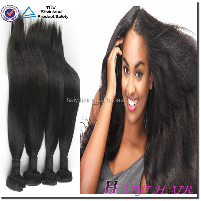 Big Factory 2016 Hot Selling Large Stock Top Quality Thick 1B color 100% virgin malaysian hair weave