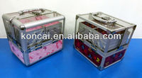 Transparent acylic beauty case beauty box makeup case with Aluminum frame and 4trays pull out 2sides&with soft fabric lining