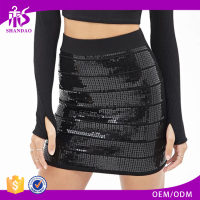 2017 guangzhou shandao summer oem service new design all black sequin sexy tight lady mini skirt