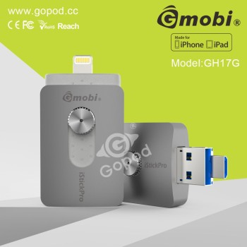 Highly Working Efficiency Gmobi iStick Pro Otg USB Flash Drive With Memory Card For iPhone/iPad/Computers
