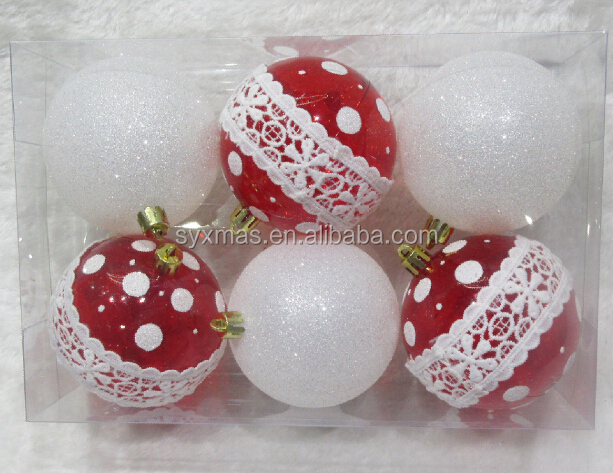 8cm red clear plastic christmas ball