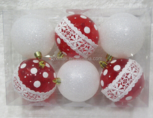 Wholesale 8cm red clear plastic christmas ball