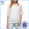 Yihao 2015 Summer Lastest Design Ladies Working Pictures Regular Fit Cut Work Tops Fashion Short Sleeve Casual Blouse For Women