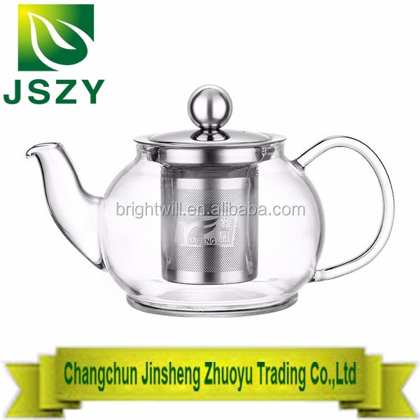 High temperature resistant thick glass tea pot,with heat proof stainless steel filter