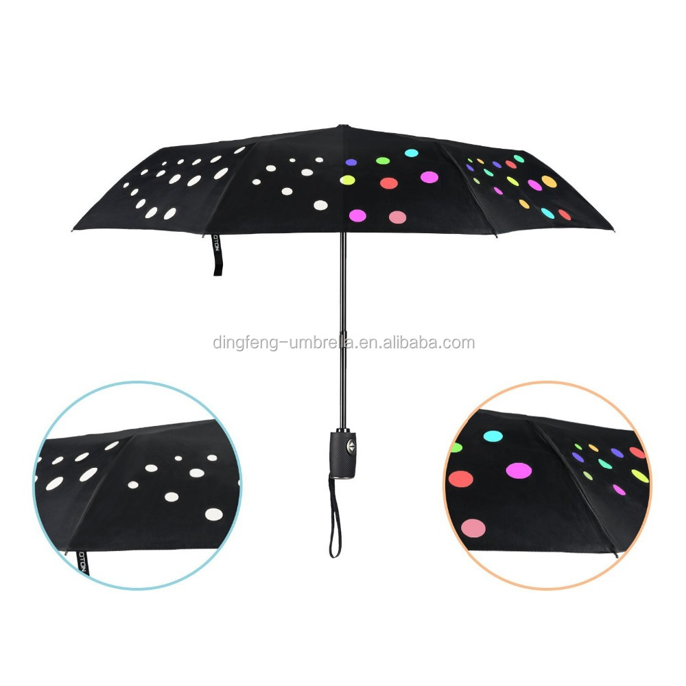 Change Color With Water Travel Umbrella with Auto Open and Close Portable High Quality Compact 8 Ribs Black
