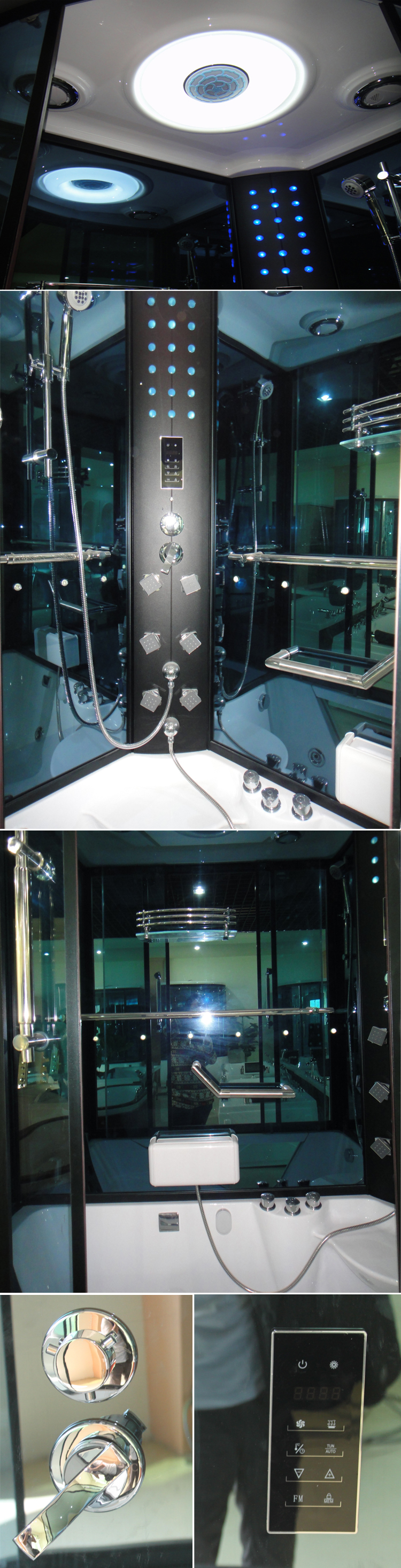 HS-SR073A multifunctional cabin tub glass whirlpool steam shower room