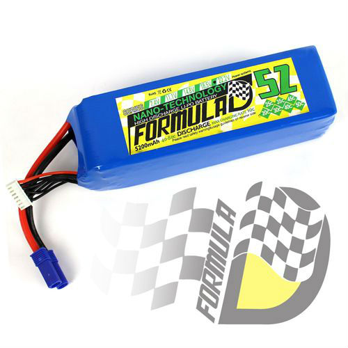 FORMULA-D lipo pack battery 5200mah 22.2V 6S 40C EC5 for RC Airplane