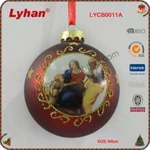 8cm glass ball with Virgin Mary decals for Christmas home decoration