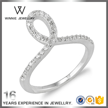 Letter O number zero 0 design 925s pure silver ring with crystals for women RC1006127046