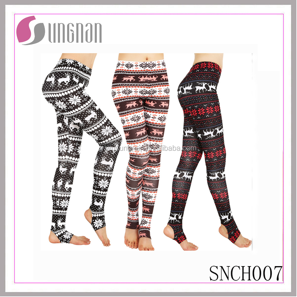 SUNGNAN Close tight dress women holiday printed leggings