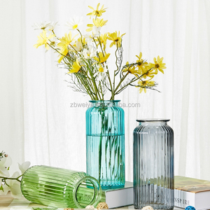 customized color wide mouth glass vase for home decoration