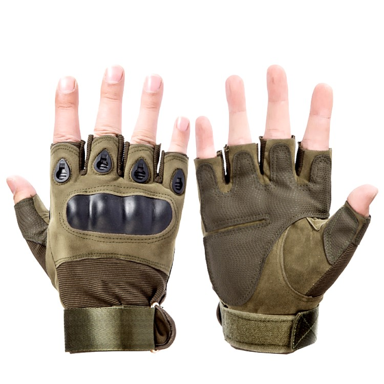 Protective <strong>Shock</strong> Resistant Fingerless Hunting Military Tactical Army Green Motorcycle Leather Gloves