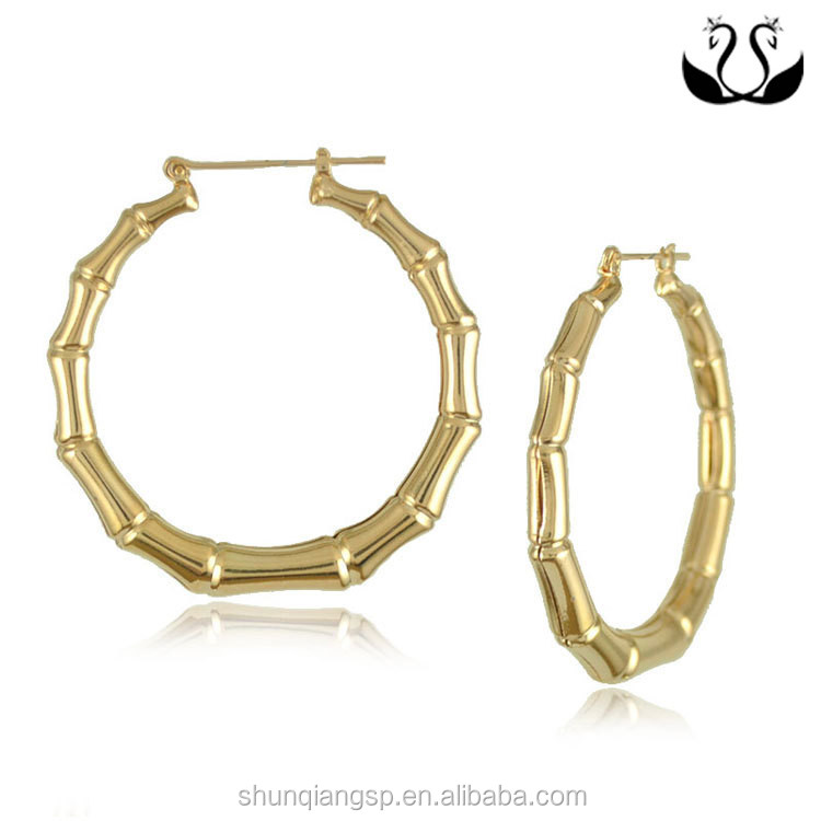Hiphop Style Bamboo Shape Personalited Exaggerated Woman hoop gold plated earrings
