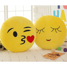 Cute Emoji Smiley Yellow Pillows Cushions Cartoon Face Round Pillow Decorative Pillows Stuffed Plush Cushions