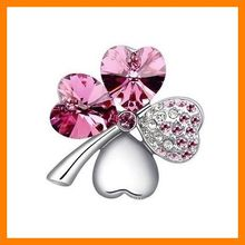 Fashion Four Leaf Clover Crystal Brooch