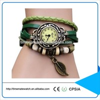 Korea Fashion Women Leather Watch Retro Alloy Leaf Leather Bracelet Watch
