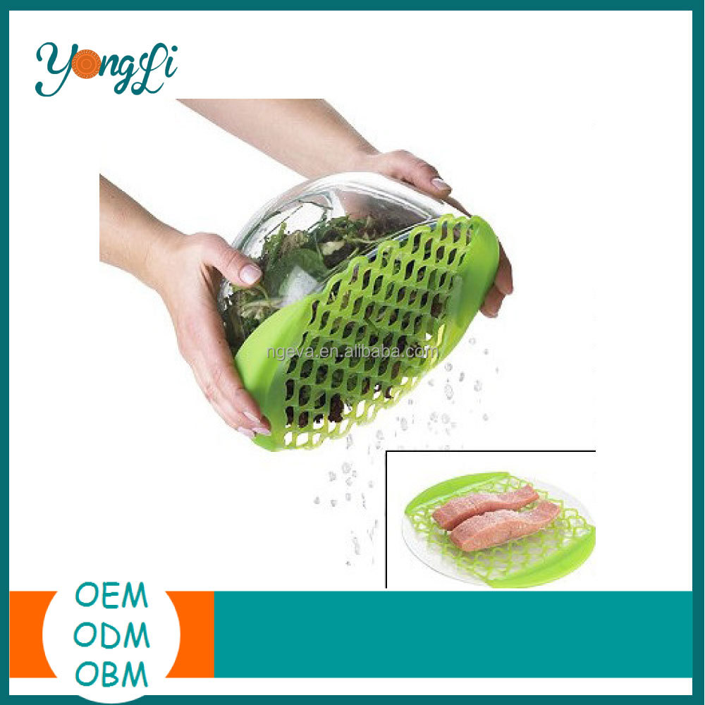 Non Slip Tretchable Strainer/Draining Net Silicone Food Steaming Plate
