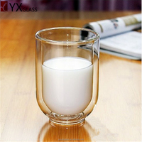 Chinese handmade borosilicate transparent heat resistant double glass milk/tea cups glass espresso cups cold brew coffee maker