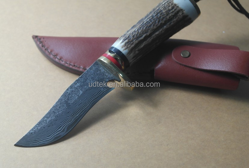 OEM hand made copper head antler handle collection Damascus knife
