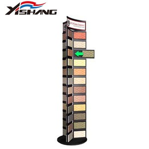 Custom floor rotating metal ceramic display rack, tile display stand