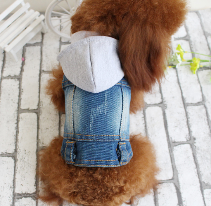 knitted pet dog hoodies jean pet dog clothes with hot denim pet dog vest