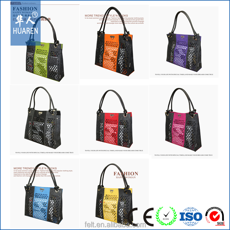 high quality wholesale Fashionable handmade wool tote women's lady tote felt bag
