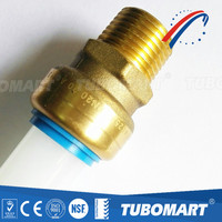 Sharkbite style brass push fitting connectors quick connect couplings for water tube