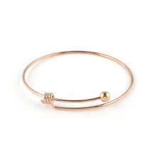 China factory cheap promotional adjustable rose gold stainless steel wire bangle bracelet