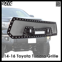 Evolution All Black Stainless Steel Wire Mesh Grille With Three LED Lights for 14-16 Toyota