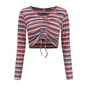 cheap wholesale polyester & cotton printed striped v neck sexy ladies long sleeve crop top 219631