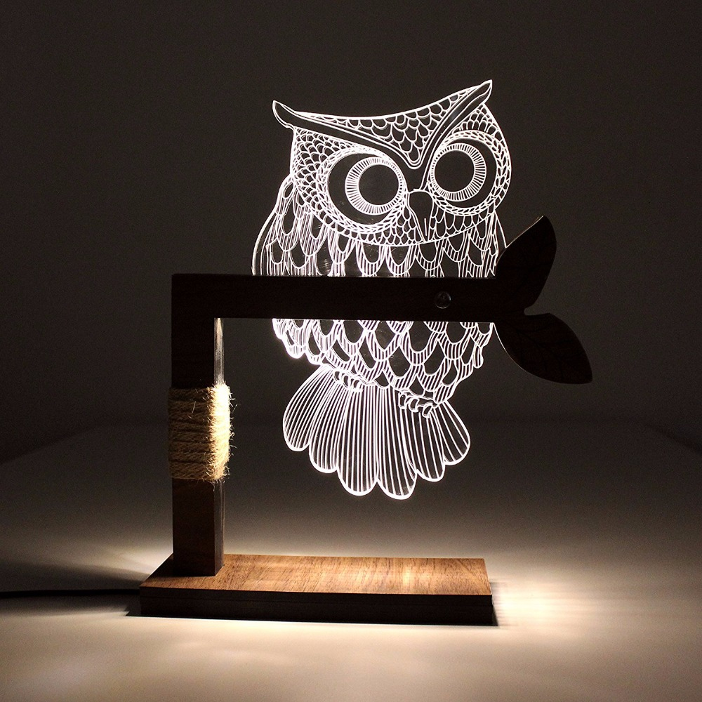 Custom Wow Home 3D Owl Shape LED Desk Table Night Light Lamp