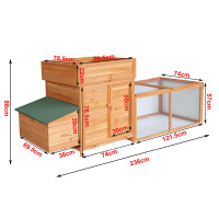 "Pawhut 97"" Spacious Wooden Chicken Coop with Nesting Box and Backyard Run"