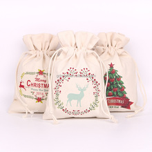 custom small plain white organic cotton canvas drawstring bag for christmas packaging